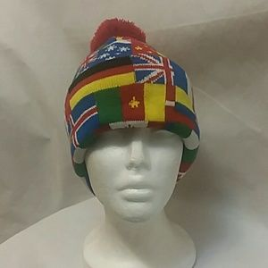 White Knights All Nations Flags Pompom Beanie Hat